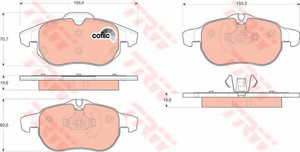 Колодки передние OPEL VECTRA C, SAAB 9-3 GDB1613