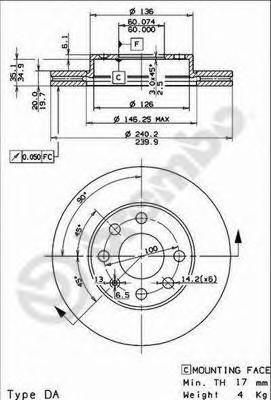 Диск тормозной OPEL CORSA C 1.0-1.7 00- передний