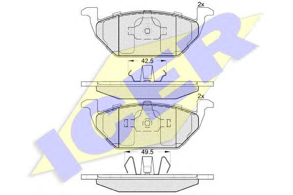 Колодки тормозные ICER 181338 без датч.=GDB1357