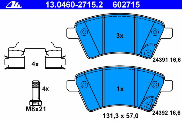 Колодки торм.пер. Fiat, Suzuki SX4