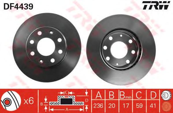 Диск тормозной передний CHEVROLET AVEO (T250, T255), SPARK (M300) DF4439