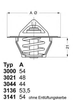 Термостат (с прокладкой) FORD: ESCORT 1.4/1.6 -95, SIERRA 1.6-2.0, GALAXY 2.0 95-