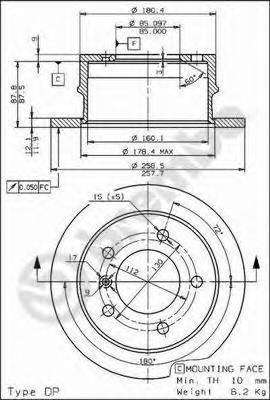 Диск тормозной MERCEDES SPRINTER (2t) 95-06/VW LT 28-35/46 96-06 задний D=258мм.