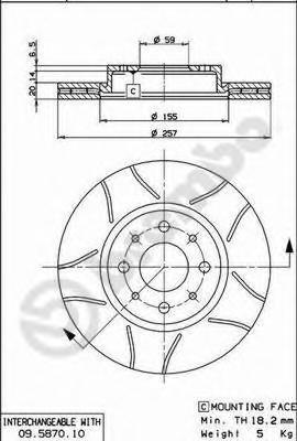 Диск тормозной ALFA ROMEO 145/147 94-01/FIAT DOBLO 01-/PUNTO 01- передний вент.