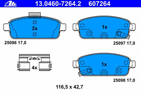 Колодки тормозные дисковые задн, CHEVROLET: CRUZE 1.4/1.6/1.7 D/1.8/1.8 LPG/2.0 CDI 09-