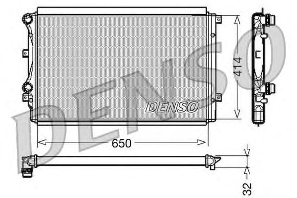 Радиатор DENSO DRM32015 VW Golf V/Touran/Jetta 1.4TSi/1.9TDi 03-