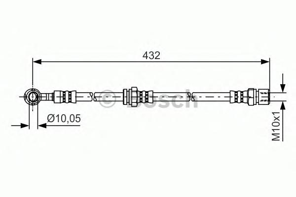 Шланг тормозной BOSCH 1987481383 LACETTI перед L