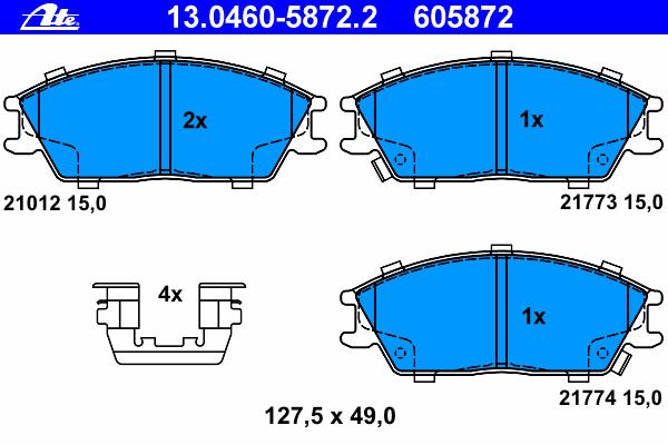 Колодки тормозные дисковые передн, HYUNDAI: ACCENT II 1.3/1.5/1.5 CRDi/1.6 00-05, ACCENT седан 1.3/1.5/1.5 CRDi/1.6 99-, GETZ 1.1/1.3/1.3 i/1.4 i/1.5 CRDi/1.5 CRDi GLS/1.5 i/1