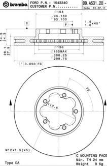 Диск тормозной FORD TRANSIT 06- передний вент.D=300мм.
