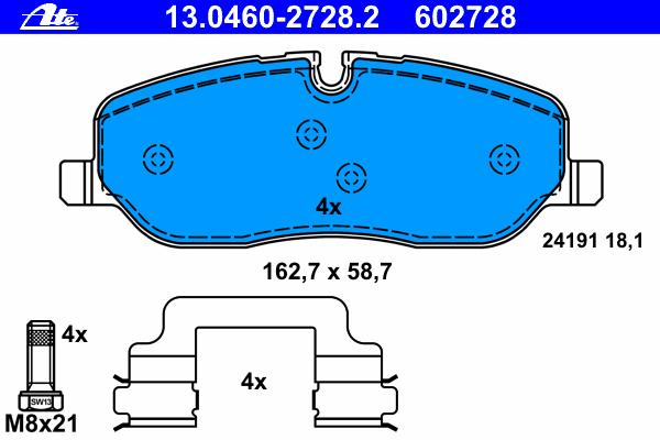 Колодки тормозные дисковые передн, LAND ROVER: DISCOVERY III 2.7 TD 4x4/4.0 4x4/4.0 V6 4x4/4.4 4x4 04-09, DISCOVERY IV 2.7 TD 4x4 09-, RANGE ROVER III 3.0 TD 6 4x4/4.4 4x4 02-
