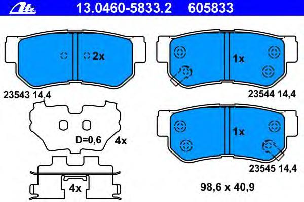 Колодки тормозные дисковые задн, HYUNDAI: ELANTRA 1.6 CRDi 00-06, ELANTRA седан 1.6 CVVT/2.0 CVVT 06-11, ELANTRA седан 1.6 CRDi 00-06, GETZ 1.5 CRDi/1.5 CRDi GLS/1.6 02-09, GR