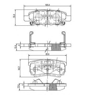 Колодки тормозные NIPPARTS N3615015 MMC Lancer/Outlander 03- с индикатором износа