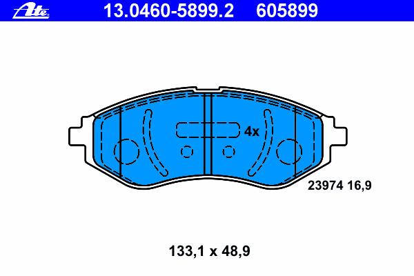 Колодки тормозные дисковые передн, CHEVROLET: AVEO Наклонная задняя часть 1.2/1.2 LPG/1.4 08-, AVEO седан 1.2/1.2 LPG/1.4/1.5/1.6 05-, KALOS 1.2/1.4/1
