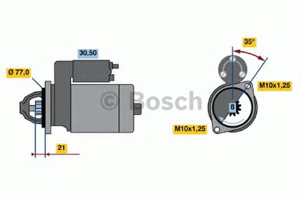 Стартер BOSCH 0986012301 Hyundai Accent