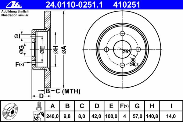 Диск тормозной задн, OPEL: ASTRA G Наклонная задняя часть 1.2 16V/1.4 16V/1.6/1.6 16V/1.7 CDTI/1.7 DTI 16V/1.7 TD/1.8 16V/2.0 DI 98-09