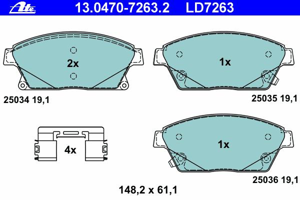 Колодки тормозные дисковые передн, CERAMIC, CHEVROLET: CRUZE 1.4/1.6/1.7 D/1.8/1.8 LPG/2.0 CDI 09-