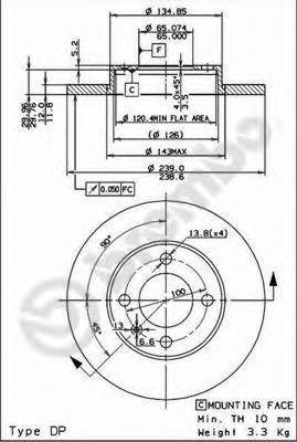 Диск тормозной AUDI 80/VW GOLF II/III/PASSAT/VENTO передний не вент. D=239мм