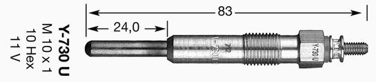 Свеча накала NGK 6704 /dpower17/ Freelander TDI 97-98/RENAULT Espace 3 97-00/Accord TDi 95-00