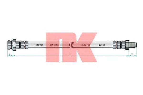 Шланг тормозной NK 853045 (п-м) 245 мм M.Pajero 91> пер.