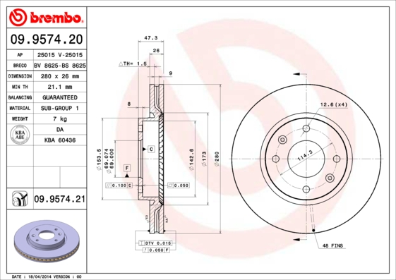 Диск тормозной HYUNDAI ELANTRA 2.0 01-/SONATA/KIA MAGENTIS 01- передний D=280мм.