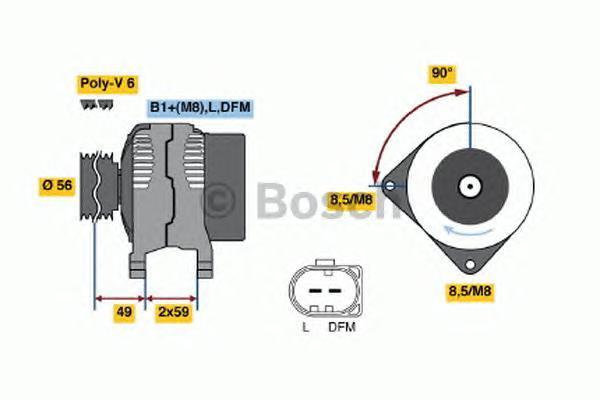 Генератор AUDI: A3 1.6/1.8/1.8 quattro/1.8 T/1.8 T quattro/S3/S3 quattro 96-03, TT 1.8 T/1.8 T quattro/3.2 VR6 quattro 98-, TT Roadster 1.8 T/1.8 T quattro/3.2