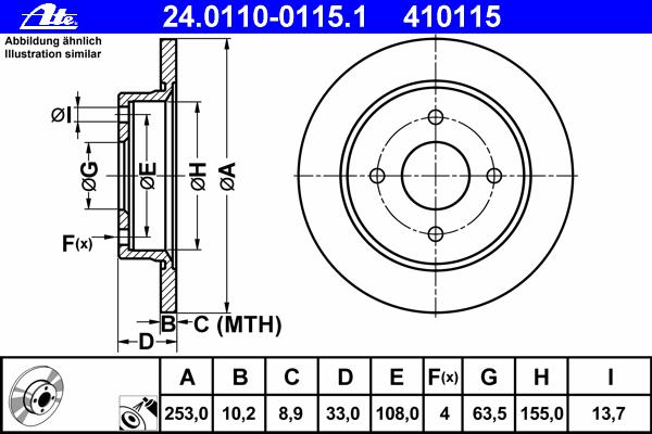 Диск тормозной задн, FORD: FIESTA V ST150 01-, FOCUS 1.4 16V/1.6 16V/1.8 16V/1.8 DI/ TDDi/1.8 TDCi/1.8 Turbo DI/ TDDi/2.0 16V 98-05, FOCUS седан 1.4 16V/1.6 16V/1.
