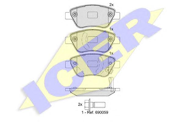 Колодки тормозные ICER 181810 OPEL CORSA 06- пер 1605353