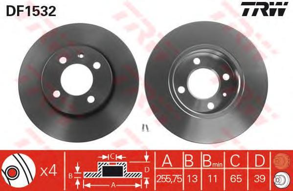 Диск тормозной передний CHERY AMULET I-II, VW GOLF III, PASSAT (3A_) DF1532