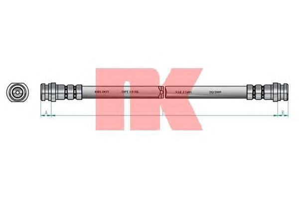 Шланг тормозной NK 853008 (м-м) 265мм MMC Lancer 88> задн.
