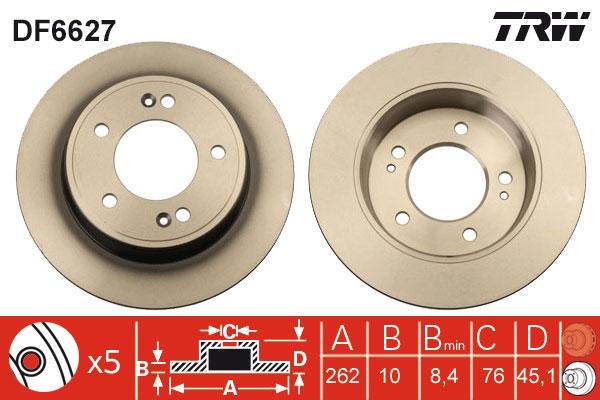 Диск тормозной задний HYUNDAI ELNATRA 11-, VELOSTER (262мм) DF6627