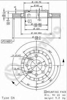 "Диск тормозной CHEVROLET LANOS/DAEWOO NEXIA 14""/OPEL ASTRA F/VECTRA A/B пер.вент"