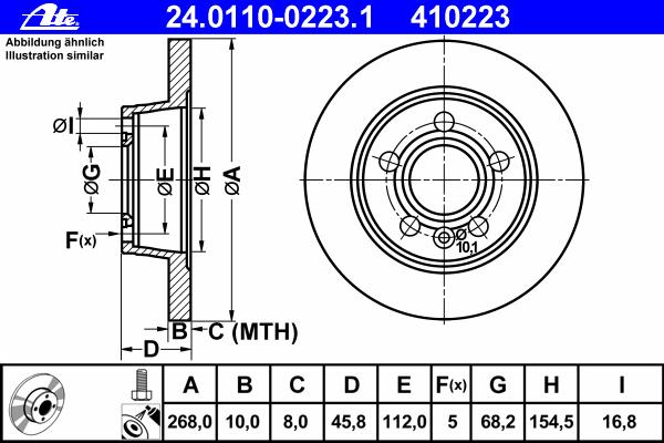 Диск тормозной задн, FORD: GALAXY 1.9 TDI/2.0 i/2.3 16V/2.8 i V6/2.8 i V6 4x4 95-06 \ SEAT: ALHAMBRA 1.8 T 20V/1.9 TDI/2.0 TDI/2.0 i 96-10 \ VW: SHARAN 1.8 T 20V/1