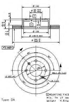 Диск тормозной HYUNDAI ACCENT (LC) 00-06 передний вент.