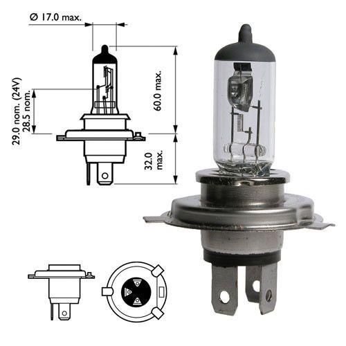 Лампа 12В Н4 60/55Вт Р43 галогенная Narva