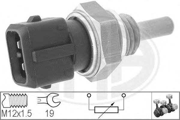Датчик температуры охлаждающей жидкости ALFA ROMEO: 145 (930) 1.4 i.e. 94-01, 146 (930) 1.4 i.e. 94-01, 33 (907A) 1.4 i.e. (907.A3A, 907.A3B) 90-94\ FIAT: PALIO (178BX) 1.2 96-, PALIO W