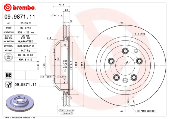 Диск тормозной AUDI Q7 06-/PORSCHE CAYENNE 04-/VW TOUAREG 02-10 задний D=358мм.