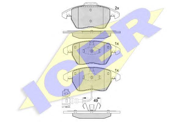 Колодки тормозные ICER 181567 AUDI A3, VW PASSAT B6 2,0 пер с датч=GDB1550