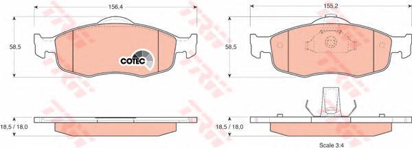 Колодки тормозные дисковые передн FORD: COUGAR 98-01, MONDEO I 93-96, MONDEO I седан 93-96, MONDEO I универсал 93-96, MONDEO II 96-00, MONDEO II седан 96-00, MONDEO II унив