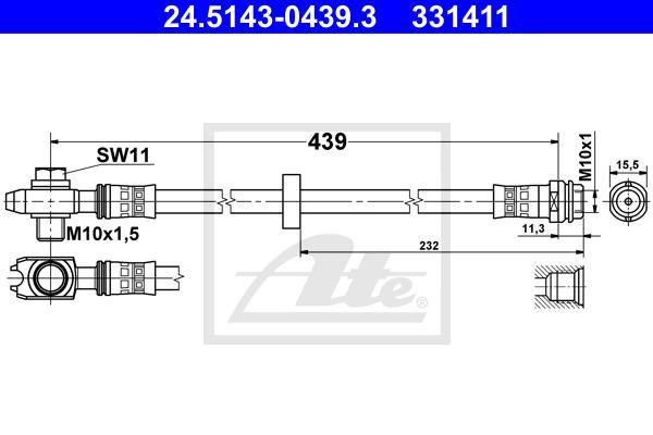Шланг тормозной передний AUDI A3/VW BORA,GOLF VI,NEW BEETLE/SKODA OCTAVIA 435мм