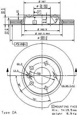 Диск тормозной VW MULTIVAN V/TRANSPORTER V 03- задний D=294мм.