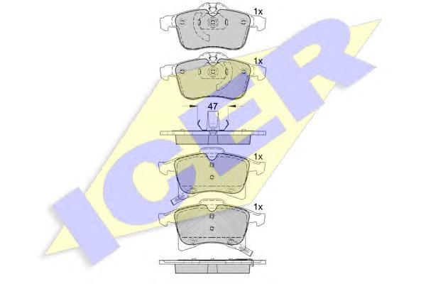 Колодки тормозные ICER 181592 OPEL Astra /Vectra/Calibra =GDB1562