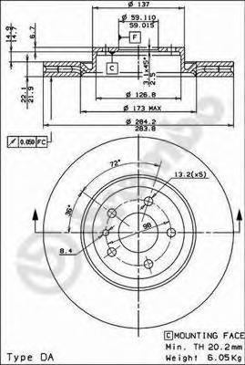 Диск торм. Fr A.R., FI Doblo 10-, OP Combo 12-