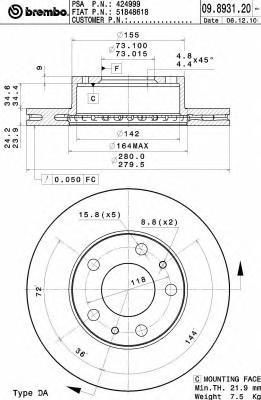Диск тормозной CITROEN JUMPER/FIAT DUCATO/PEUGEOT BOXER 94- передний D=280мм.