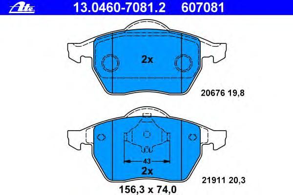 Колодки тормозные дисковые передн, AUDI: A3 1.6/1.8/1.8 T/1.8 T quattro/1.9 TDI/S3 quattro 96-03, TT 1.8 T/1.8 T quattro 98-06, TT Roadster 1.8 T/1.8 T quattro 99-06 \ SEAT: I