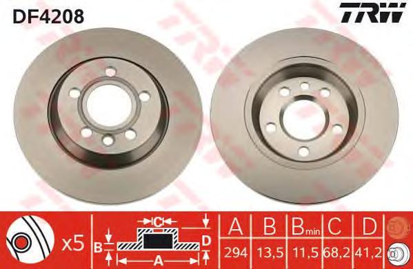 Диск тормозной задний VW SHARAN (7M), TRANSPORTER IV (294мм) DF4208