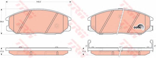 Колодки тормозные HYUNDAI H-1/SANTA FE/TRAJET/SSANGYONG REXTON 01- передние