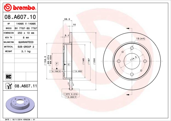 Диск тормозной задн, MITSUBISHI: COLT CZC 1.5/1.5 Turbo 06-09, COLT VI 1.1/1.3/1.5/1.5/1.5/1.5 CZT/1.5 DI-D/1.5 Ralliart R/1.5 Turbo 02- \ SMART: FORF