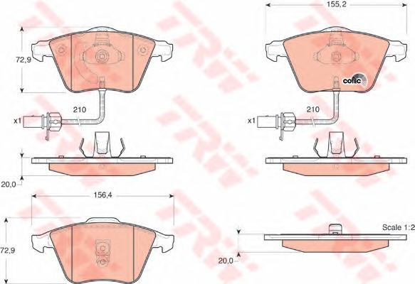 Колодки тормозные TRW GDB1528 AUDI A6 с датчиком