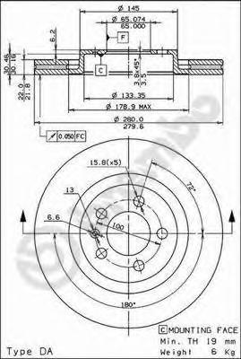 Диск тормозной AUDI A3 96-/SKODA OCTAVIA 96-/VW BORA/GOLF IV/V передний D=280мм.
