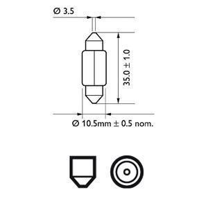 128584000kx1 лампа автомобильная салонная led 4000k 12v 1w sv8,5 led philips